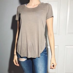Tops - Taupe Side Slip Shirt
